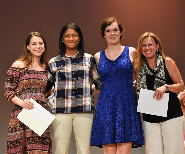 PTA Scholarship winners and president