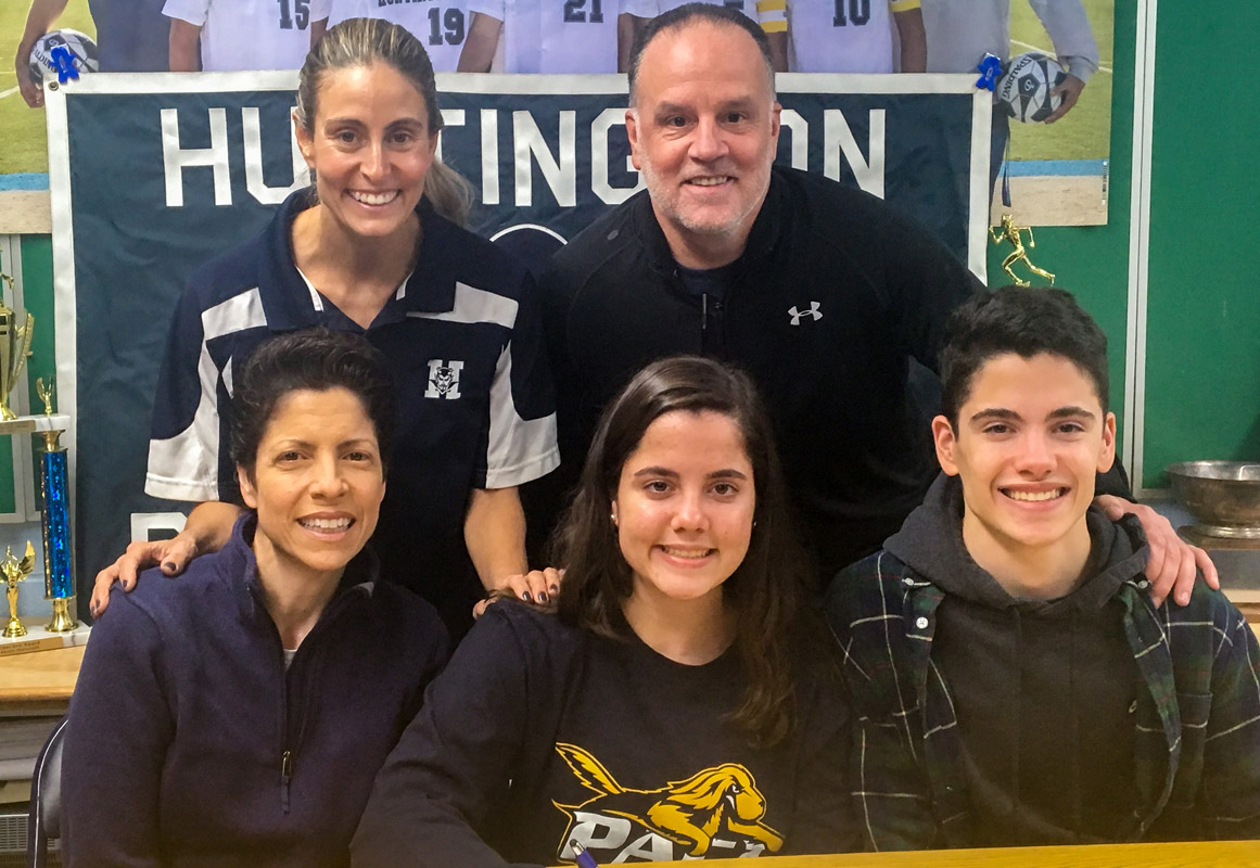 Isabella Piccola with her parents, Bob and Diana, brother, Nolan and Huntington lax coach Kim Gilroy.