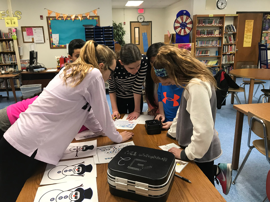 The Woodhull School library sprang to life for sixth graders involved in a breakout competition.