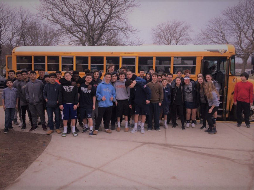 Huntington students stuffed a large school bus with food last March.