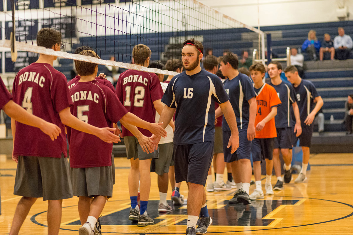 Chris Martin (No. 16) on the court for the Blue Devil volleyball team. (Darin Reed photo)