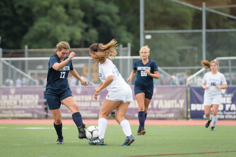 Marissa Stafford (left) goes one on one this fall. (Darin Reed photo.)