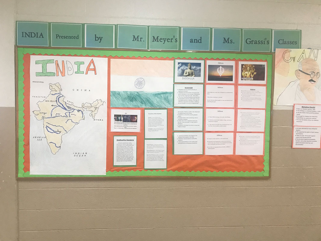 Woodhull School social studies students studied India and created some neat bulletin boards that displayed their findings (1)