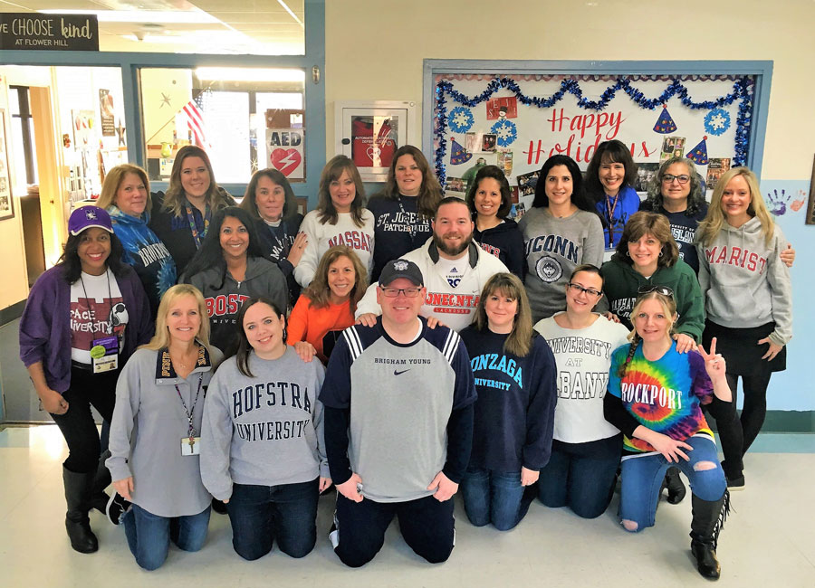 Flower Hill School faculty members came dressed in college gear for College Awareness Day.