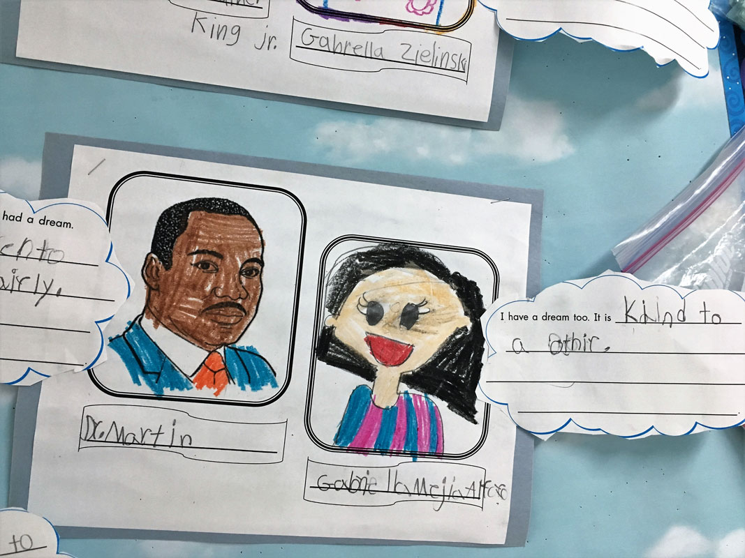Washington School dual language first graders celebrated Dr. Martin Luther King Jr's life and legacy.