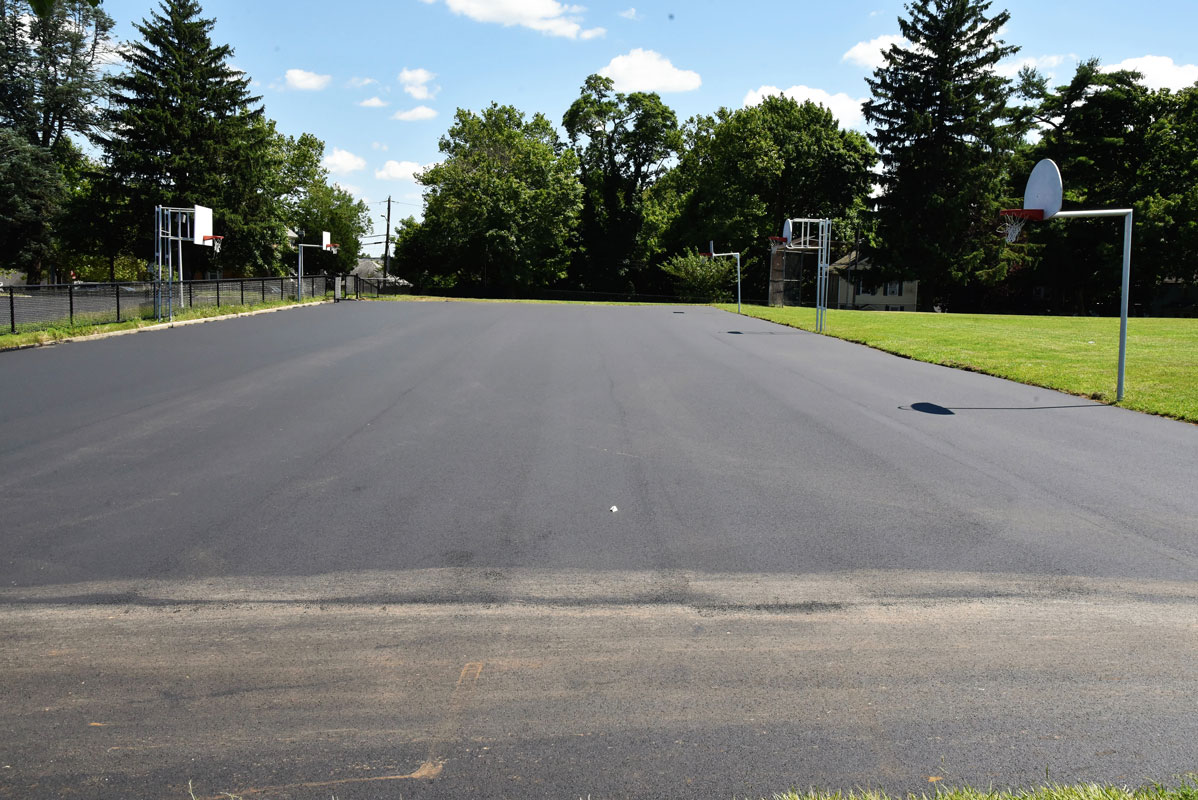 The three outdoor basketball courts at Jack Abrams STEM Magnet School have been completely resurfaced
