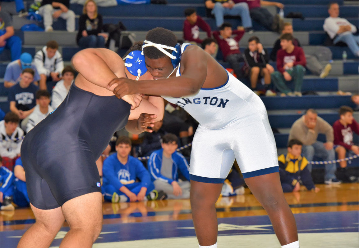 Blue Devil All-County wrestler Tazadon Smith (right) sets up his opponent.
