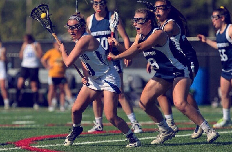 Holly Wright plays defense for the lacrosse team.
