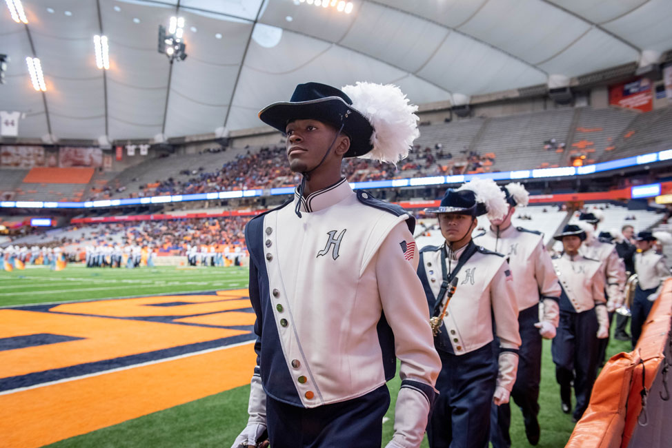 Neil Jean-Baptiste marches into the Syracuse Carrier Dome last fall for the state championships. (Darin Reed photo.)