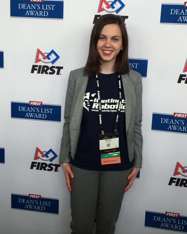 Huntington's Abigail Holmes at the FIRST Robotics World Championships in Detroit last weekend.