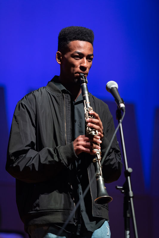Huntington junior Neil Jean-Baptiste is a talented clarinetist (Darin Reed photo)