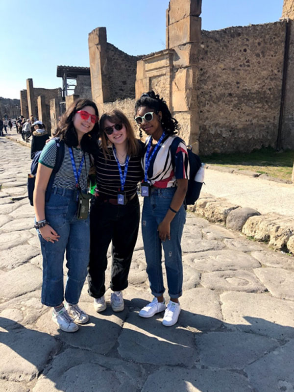 Shyann Maragh (right) on a trip to Italy with her friends.