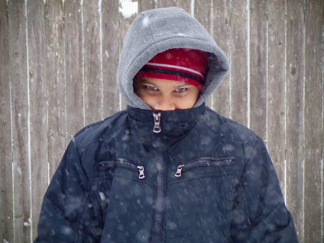 Manny Aviles took this photo of his brother for a snow day photography class assignment.