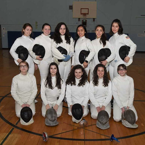 The Huntington High School girls' fencing team.