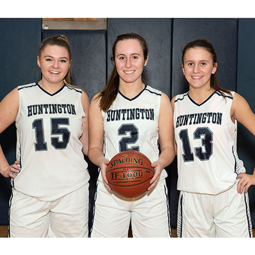 Blue Devil girls' basketball team captains Christie Baade, Paige Lennon and Alyssa Sorensen. (Darin Reed photo.)