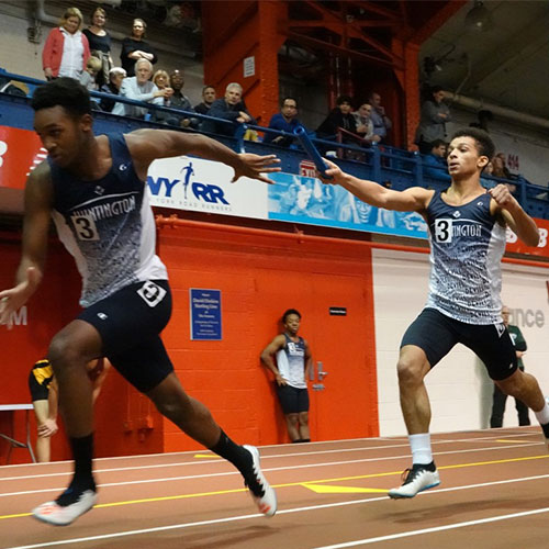 The Huntington boys' indoor track team was impressive last Friday night at the North Shore Invitational in Manhattan.