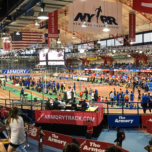 The Armory in Manhattan was packed for Saturday's meet.