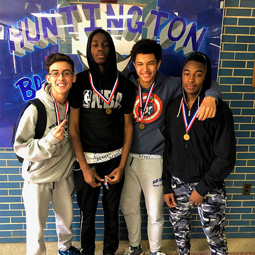 The freshman 4x200m relay of Quincy Chery, Adrian Angueira, Collin Garcia and Jahiem Hawkins won a gold medal.