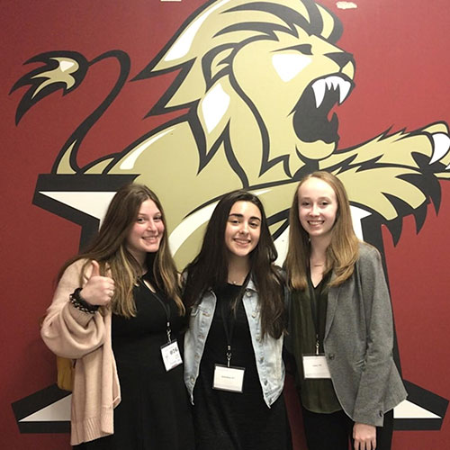Emily Roberts, Nina Varvatsas and Shannon Kehoe at last year's Molloy College science fair.