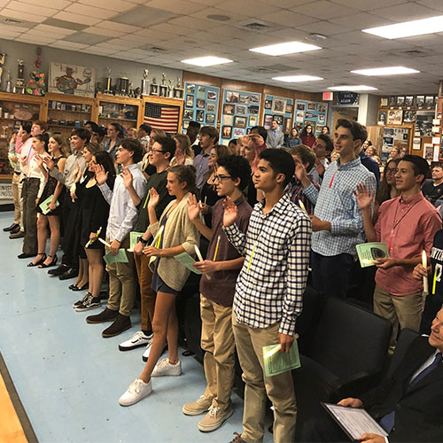 Huntington's Science Honor Society inducted 42 new members on Wednesday night.